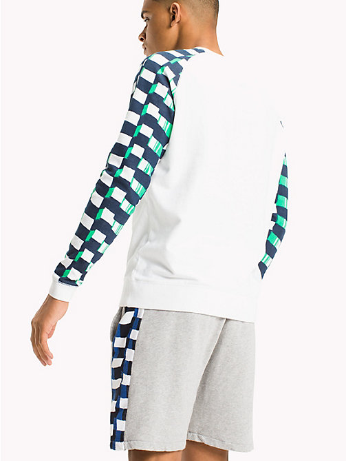 TOMMY JEANS Contrast Sleeve Raglan Jumper - CLASSIC WHITE / CHECKER - TOMMY JEANS MEN - detail image 1