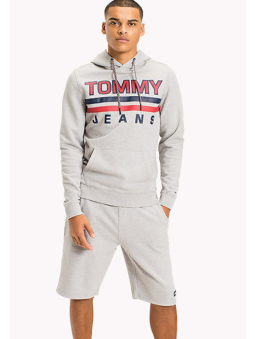 TOMMY JEANS Regular Fit Hoodie - LT GREY HTR - TOMMY JEANS MEN - main image