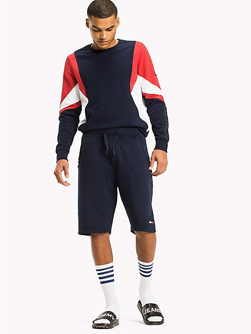 TOMMY JEANS Terry Cotton Basketball Shorts - BLACK IRIS - TOMMY JEANS Trousers & Shorts - main image