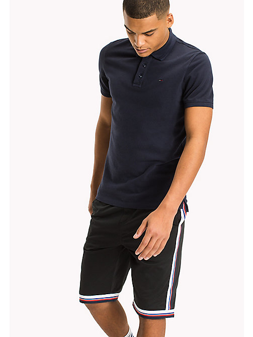 TOMMY JEANS Cotton Stretch Piqué Slim Fit Polo - BLACK IRIS - TOMMY JEANS MEN - main image
