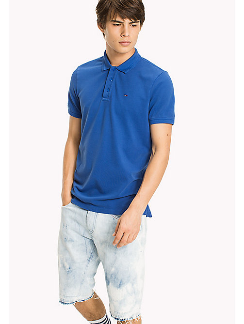 TOMMY JEANS Cotton Stretch Piqué Slim Fit Polo - NAUTICAL BLUE - TOMMY JEANS T-Shirts & Polos - main image