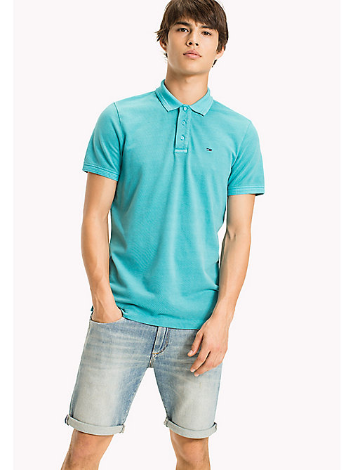 TOMMY JEANS Cotton Stretch Piqué Slim Fit Polo - MAUI BLUE - TOMMY JEANS MEN - main image