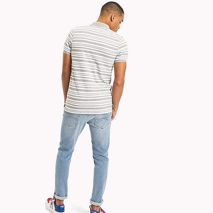 TOMMY JEANS Fitted Stripe Polo Shirt - NAUTICAL BLUE - TOMMY JEANS Clothing - detail image 1