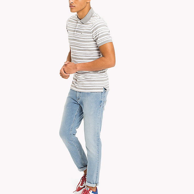 TOMMY JEANS Fitted Stripe Polo Shirt - NAUTICAL BLUE - TOMMY JEANS Clothing - main image