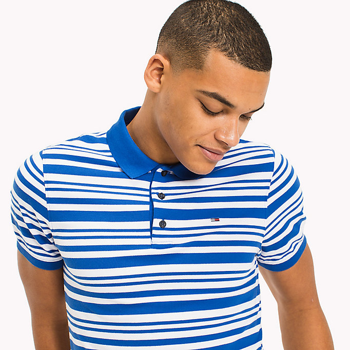 TOMMY JEANS Fitted Stripe Polo Shirt - RACING RED - TOMMY JEANS Clothing - detail image 2