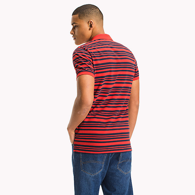TOMMY JEANS Fitted Stripe Polo Shirt - BLACK IRIS - TOMMY JEANS Clothing - detail image 1