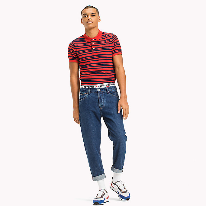 TOMMY JEANS Fitted Stripe Polo Shirt - BLACK IRIS - TOMMY JEANS Men - main image