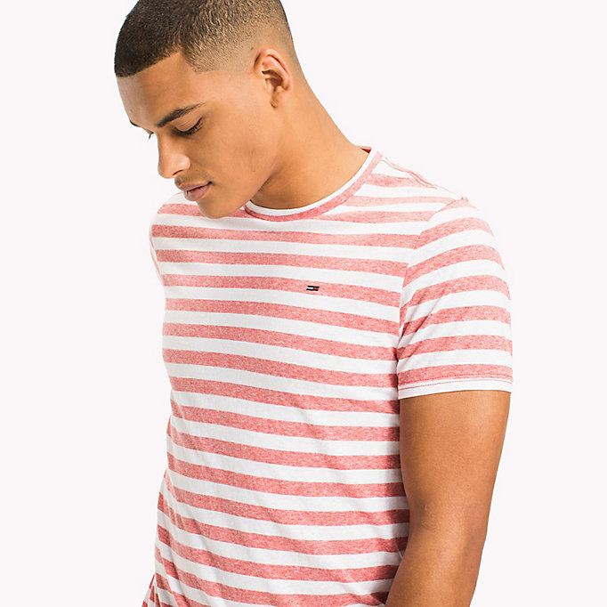 TOMMY JEANS Stripe Jersey T-Shirt - JELLY BEAN - TOMMY JEANS Clothing - detail image 2