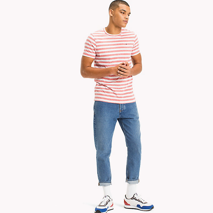 TOMMY JEANS Stripe Jersey T-Shirt - JELLY BEAN - TOMMY JEANS Clothing - main image