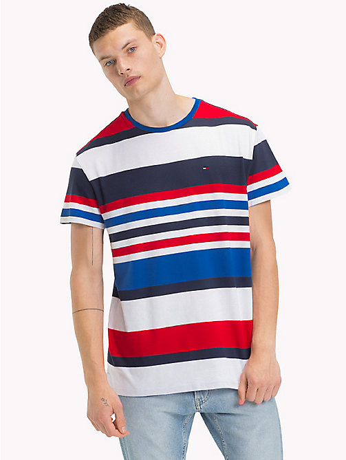 TOMMY JEANS Multi Colour Stripe Relaxed T-Shirt - NAUTICAL BLUE / MULTI - TOMMY JEANS MEN - main image