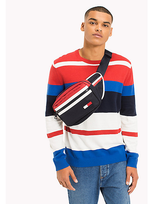 TOMMY JEANS Multi Stripe Jumper - RACING RED / MULTI - TOMMY JEANS Jumpers - main image