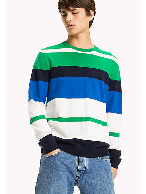 TOMMY JEANS Multi Stripe Jumper - JELLY BEAN / MULTI - TOMMY JEANS MEN - main image