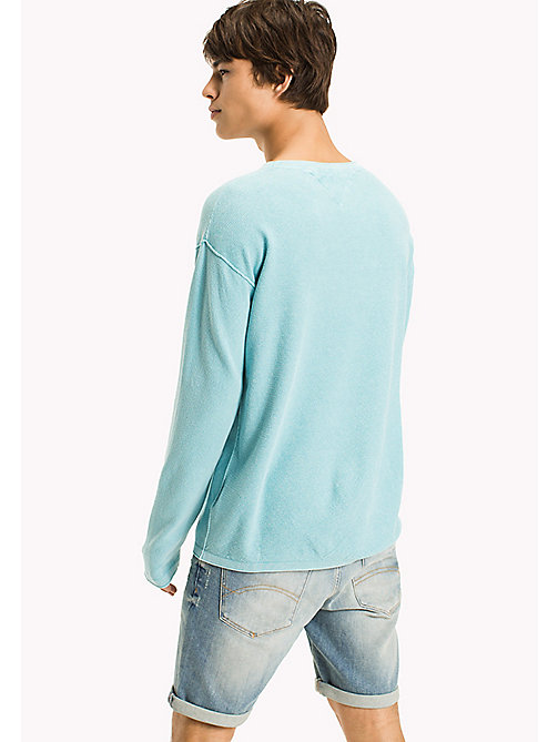 TOMMY JEANS Cotton Waffle Relaxed Fit Jumper - MAUI BLUE - TOMMY JEANS MEN - detail image 1
