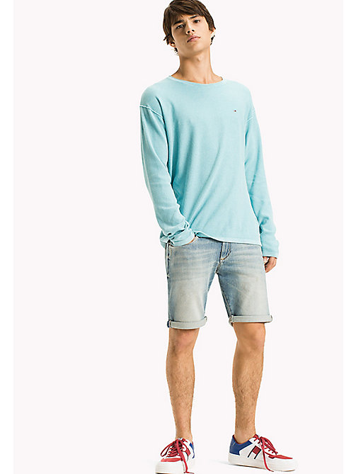 TOMMY JEANS Cotton Waffle Relaxed Fit Jumper - MAUI BLUE - TOMMY JEANS Vacation Style - main image