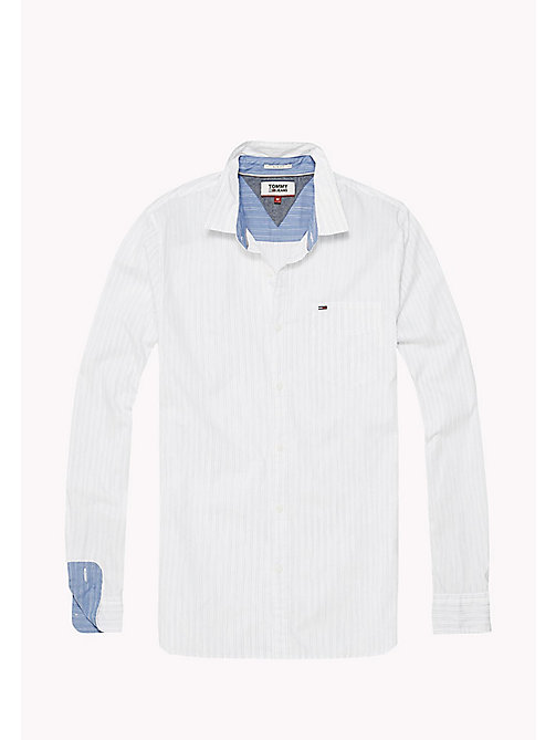 TOMMY JEANS Slim Fit Stripe Shirt - CLASSIC WHITE - TOMMY JEANS MEN - detail image 1