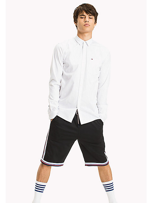 TOMMY JEANS Slim Fit Stripe Shirt - CLASSIC WHITE - TOMMY JEANS MEN - main image