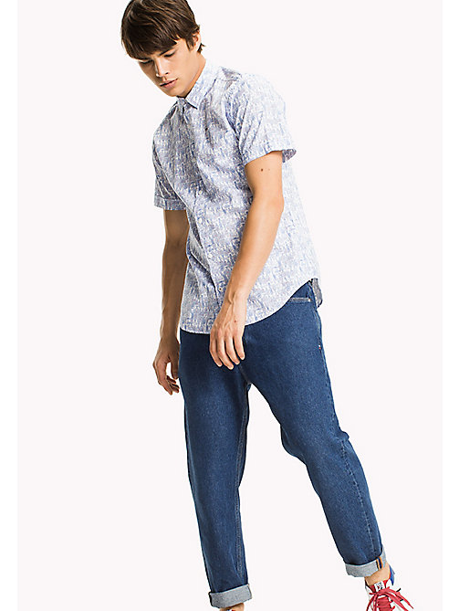 TOMMY JEANS Printed Short Sleeve Shirt - GUITAR DITSY /CLASSIC WHITE - TOMMY JEANS MEN - main image