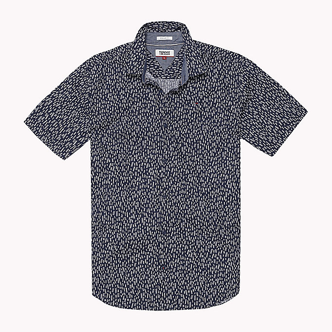 TOMMY JEANS Printed Short Sleeve Shirt - GUITAR DITSY /CLASSIC WHITE - TOMMY JEANS Men - detail image 1