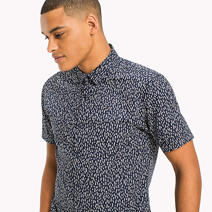 TOMMY JEANS Printed Short Sleeve Shirt - GUITAR DITSY /CLASSIC WHITE - TOMMY JEANS Men - detail image 3
