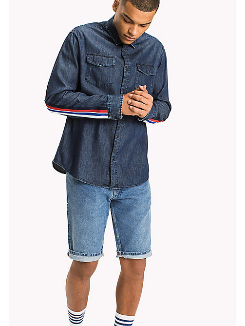 TOMMY JEANS Relaxed Fit Biker Shirt - DARK INDIGO - TOMMY JEANS MEN - main image