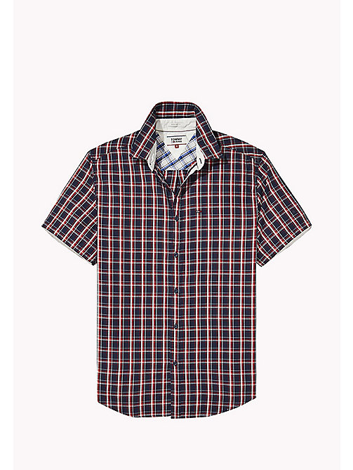 TOMMY JEANS Regular Fit Short Sleeve Check Shirt - BLACK IRIS / MULTI - TOMMY JEANS Festival Season - detail image 1