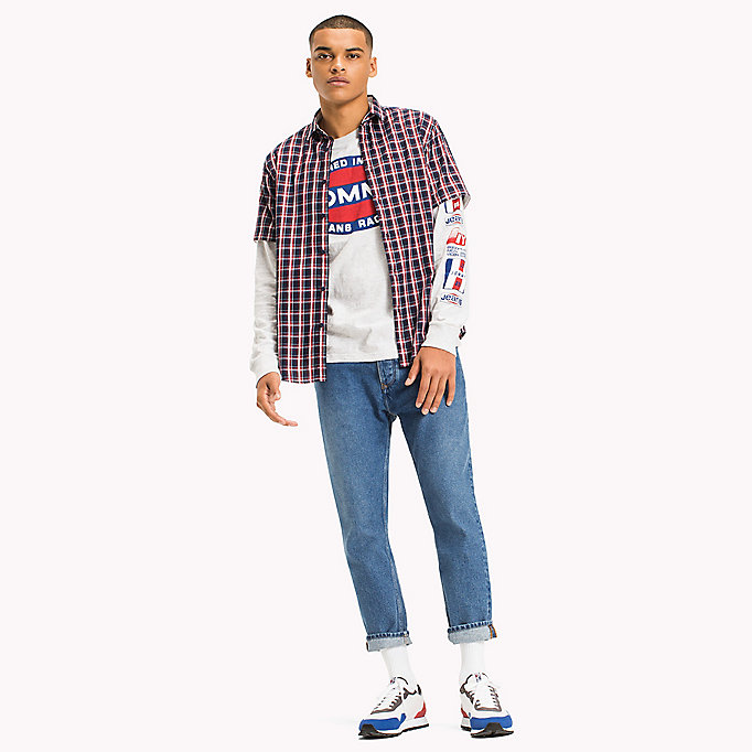 TOMMY JEANS Regular Fit Short Sleeve Check Shirt - NAUTICAL BLUE / MULTI - TOMMY JEANS Men - main image