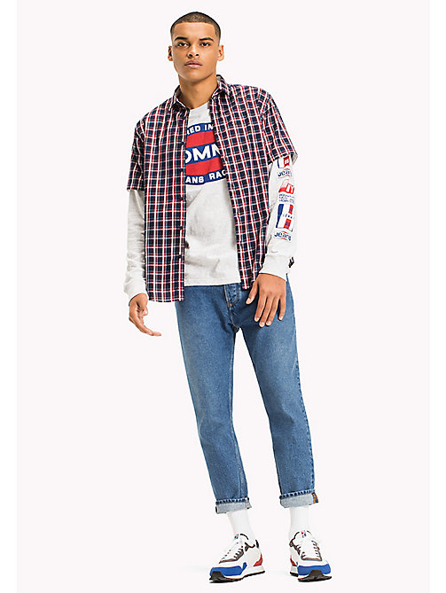 TOMMY JEANS Regular Fit Short Sleeve Check Shirt - BLACK IRIS / MULTI - TOMMY JEANS Festivals Season - main image