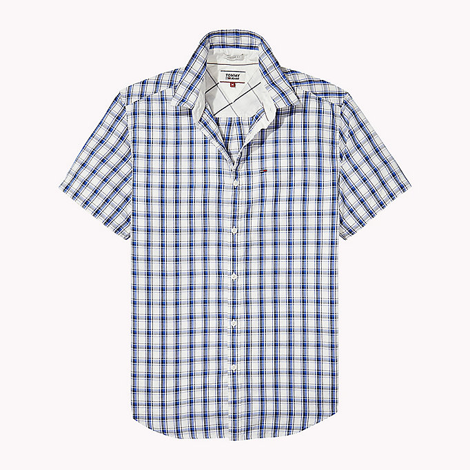 TOMMY JEANS Regular Fit Short Sleeve Check Shirt - BLACK IRIS MULTI - TOMMY JEANS Clothing - detail image 1