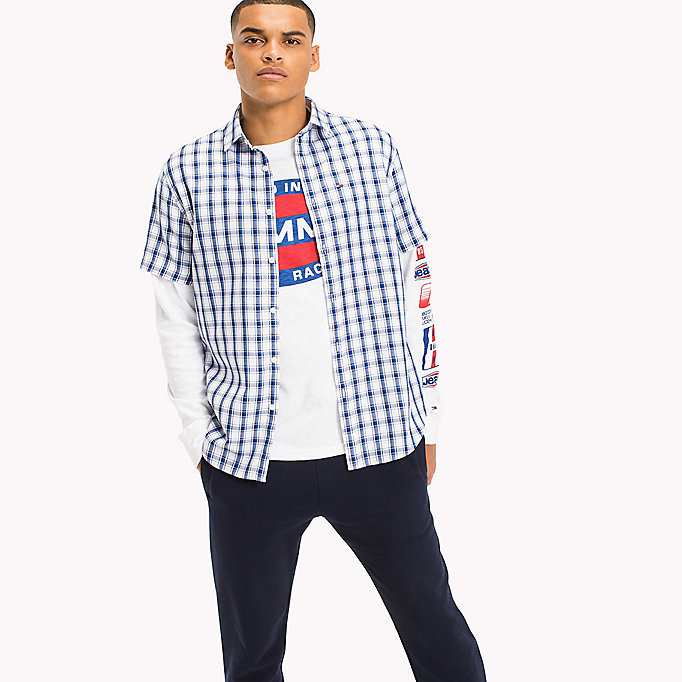 TOMMY JEANS Regular Fit Short Sleeve Check Shirt - BLACK IRIS MULTI - TOMMY JEANS Clothing - main image