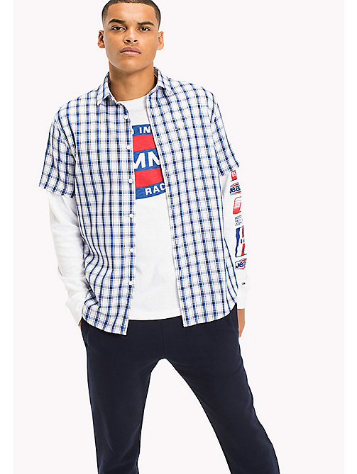 TOMMY JEANS Regular Fit Short Sleeve Check Shirt - NAUTICAL BLUE / MULTI - TOMMY JEANS Shirts - main image
