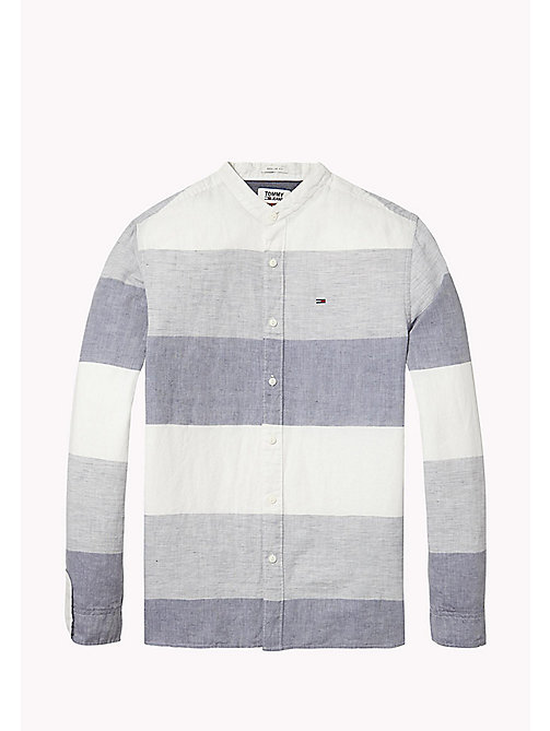 TOMMY JEANS Stripe Band Mandarin Collar Shirt - BLACK IRIS MULTI - TOMMY JEANS MEN - detail image 1