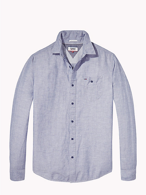 TOMMY JEANS Regular Fit Linen Shirt - BLACK IRIS - TOMMY JEANS Shirts - detail image 1