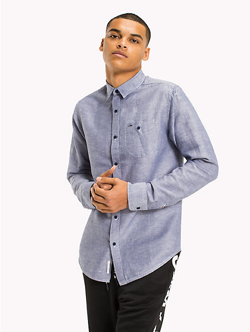 TOMMY JEANS Regular Fit Linen Shirt - BLACK IRIS - TOMMY JEANS Shirts - main image