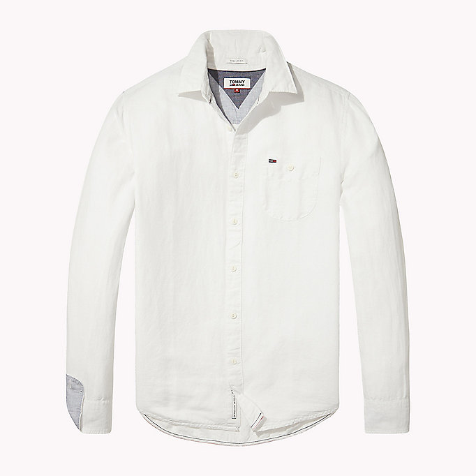 TOMMY JEANS Regular Fit Linen Shirt - BLACK IRIS - TOMMY JEANS Men - detail image 1