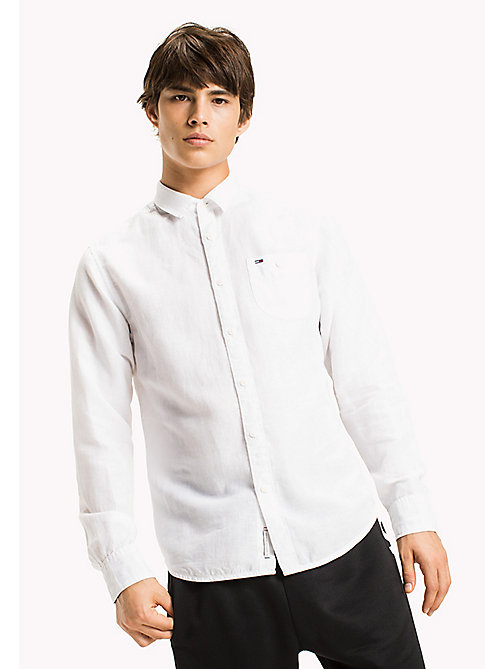 TOMMY JEANS Regular Fit Linen Shirt - CLASSIC WHITE - TOMMY JEANS MEN - main image