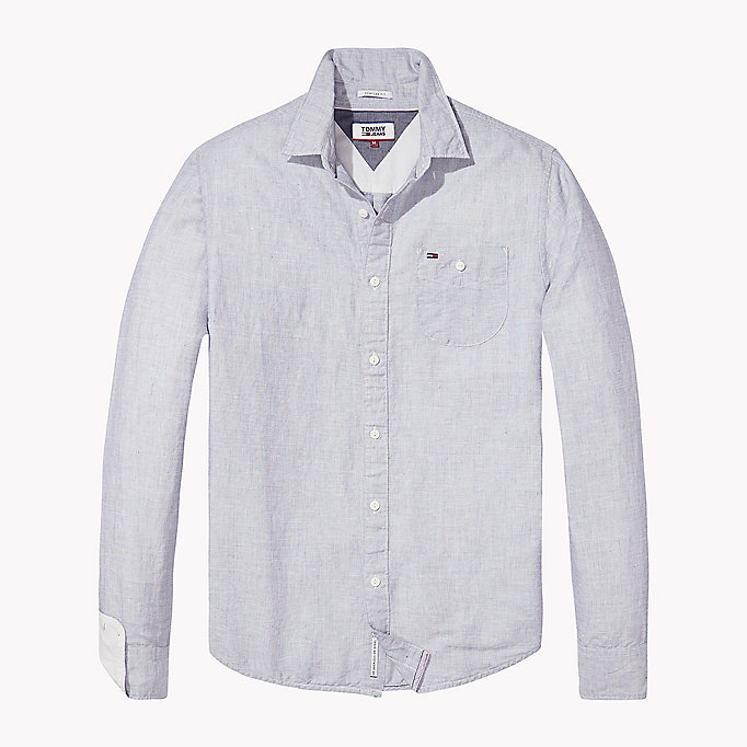 TOMMY JEANS Regular Fit Linen Shirt - CLASSIC WHITE - TOMMY JEANS Men - detail image 1