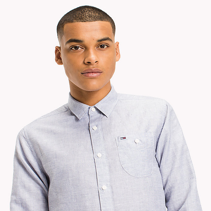 TOMMY JEANS Regular Fit Linen Shirt - CLASSIC WHITE - TOMMY JEANS Men - detail image 3