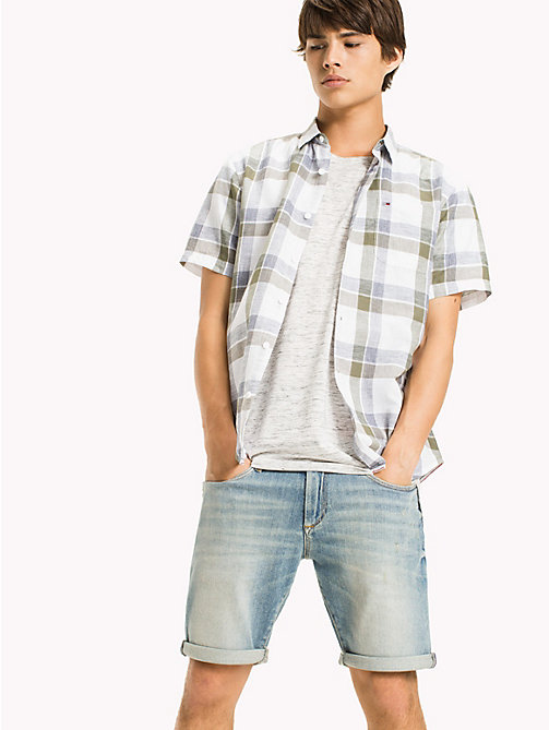 TOMMY JEANS Cotton Blend Check Shirt - DEEP LICHEN - TOMMY JEANS Vacation Style - main image