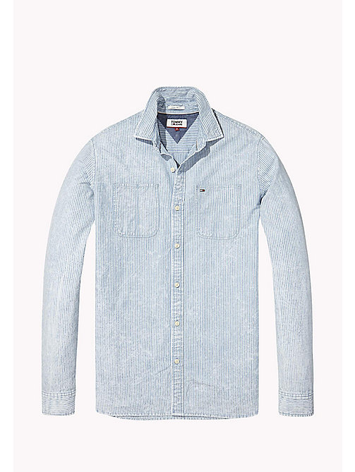 TOMMY JEANS Cotton Linen Blend Shirt - LIGHT INDIGO - TOMMY JEANS MEN - detail image 1