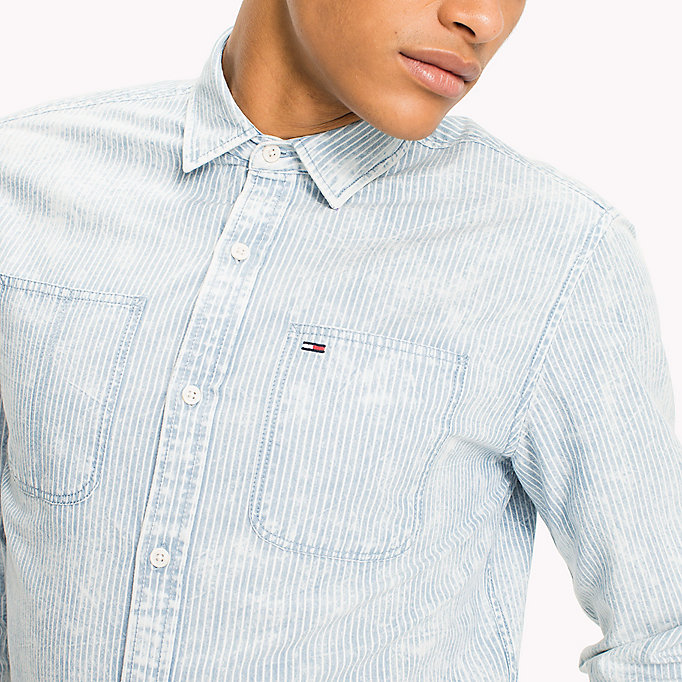 TOMMY JEANS Cotton Linen Blend Shirt - DARK INDIGO - TOMMY JEANS Men - detail image 3
