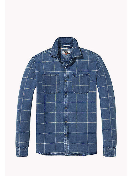 TOMMY JEANS Cotton Linen Blend Shirt - MID INDIGO - TOMMY JEANS MEN - detail image 1