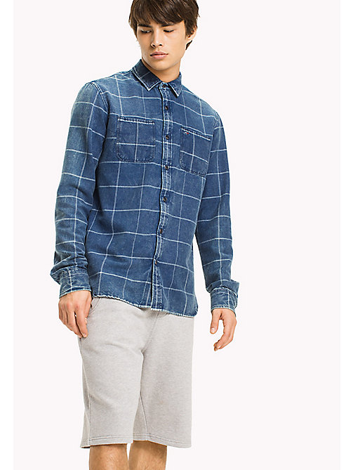 TOMMY JEANS Cotton Linen Blend Shirt - MID INDIGO - TOMMY JEANS MEN - main image