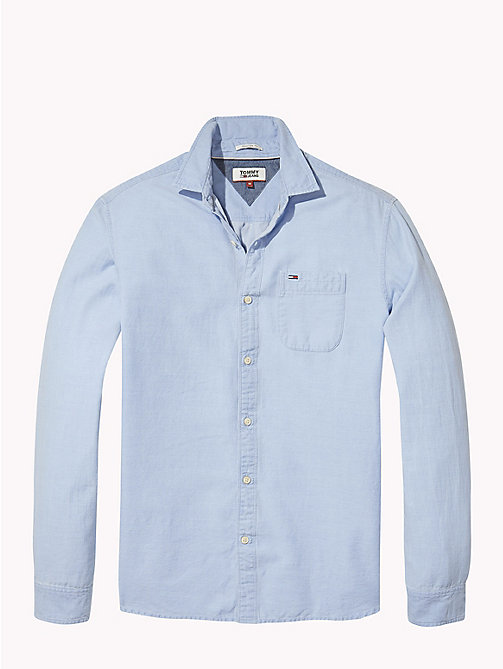 TOMMY JEANS Regular Fit Dobby Shirt - NAUTICAL BLUE - TOMMY JEANS MEN - detail image 1