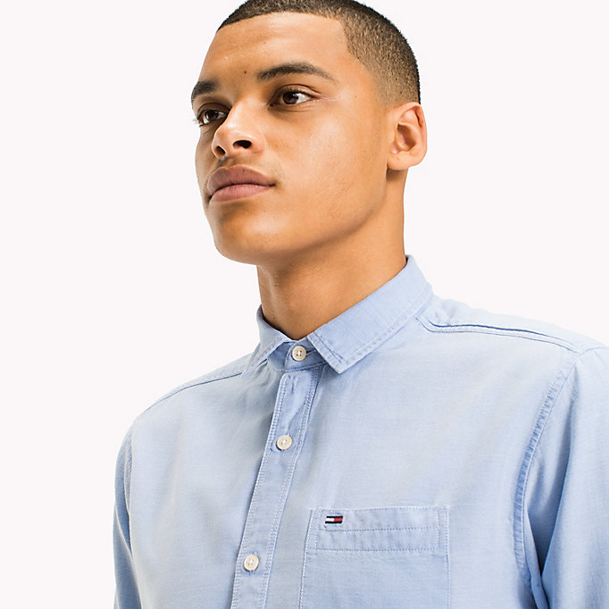 TOMMY JEANS Regular Fit Dobby Shirt - MAUI BLUE - TOMMY JEANS Men - detail image 3