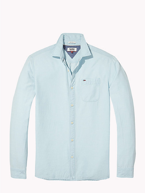 TOMMY JEANS Regular Fit Dobby Shirt - MAUI BLUE - TOMMY JEANS MEN - detail image 1