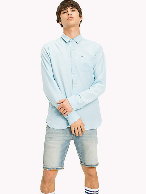 TOMMY JEANS Regular Fit Dobby Shirt - MAUI BLUE - TOMMY JEANS MEN - main image