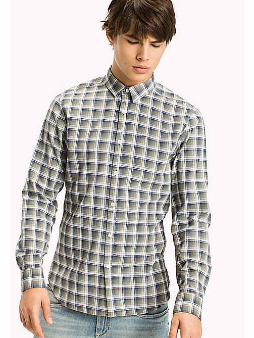 TOMMY JEANS Slim Fit Check Shirt - DEEP LICHEN - TOMMY JEANS Shirts - main image