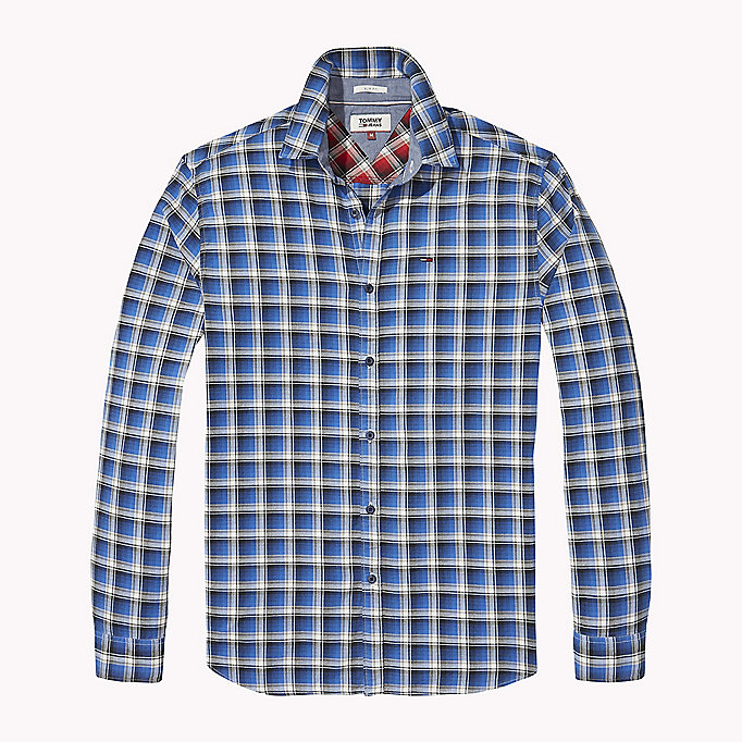 TOMMY JEANS Slim Fit Check Shirt - MAUI BLUE - TOMMY JEANS Men - detail image 1