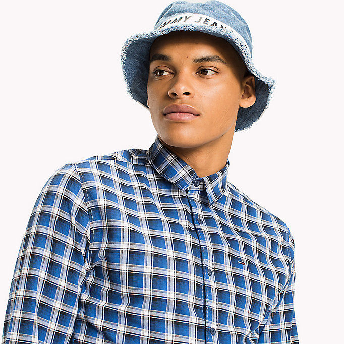 TOMMY JEANS Slim Fit Check Shirt - MAUI BLUE - TOMMY JEANS Clothing - detail image 3