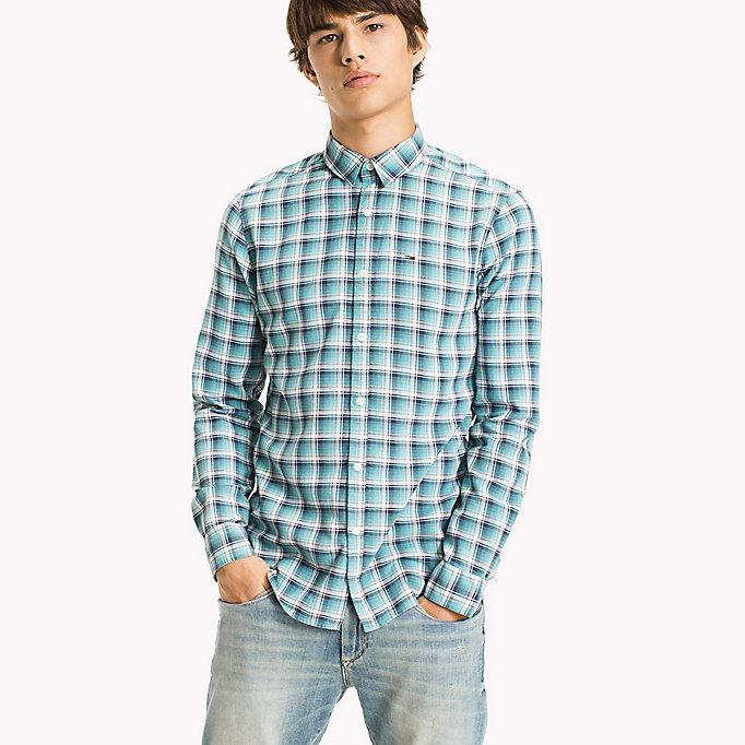 TOMMY JEANS Slim Fit Check Shirt - RACING RED - TOMMY JEANS Men - main image